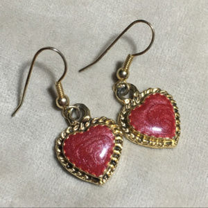Jewelry - Gold & Enamel Heart Dangle Earrings